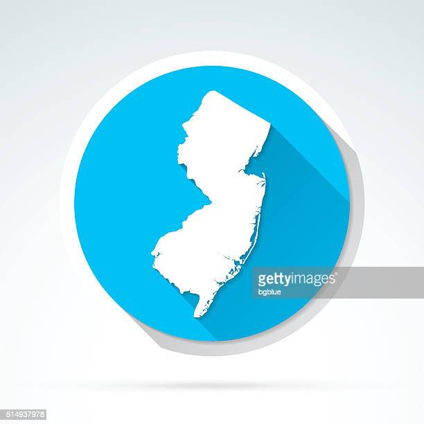 New Jersey map icon, Flat Design, Long Shadow