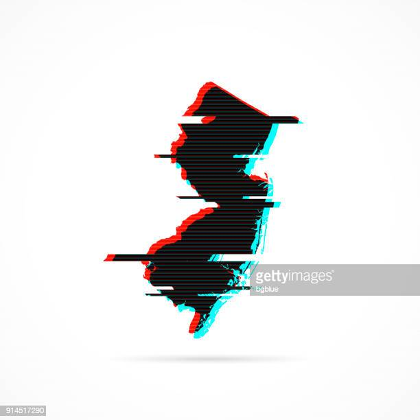 New Jersey map in distorted glitch style. Modern trendy effect
