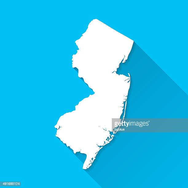 New Jersey Map on Blue Background, Long Shadow, Flat Design