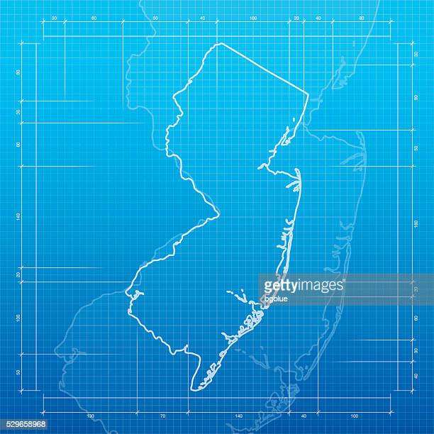 New Jersey map on blueprint background