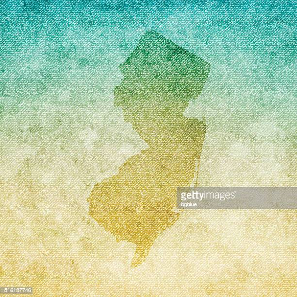 New Jersey Map on grunge Canvas Background
