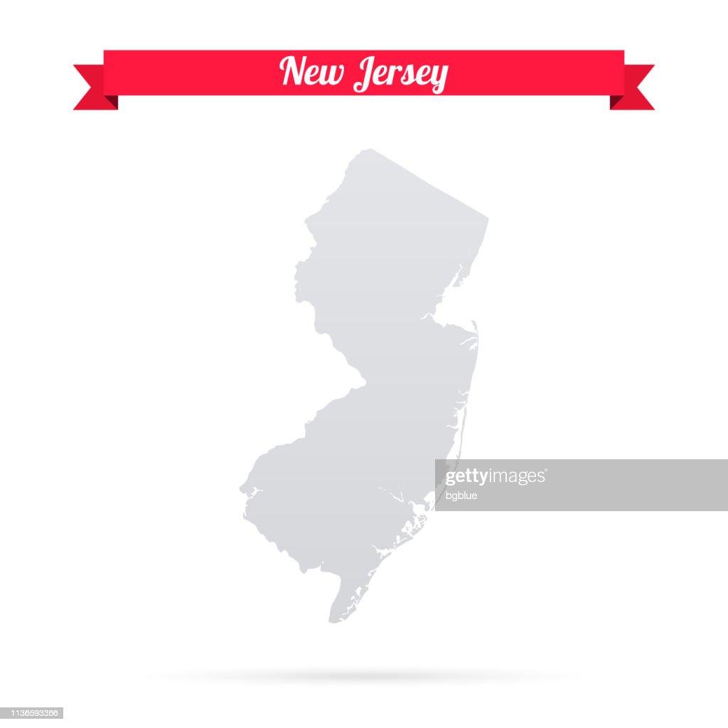 New Jersey Karte Auf Weißem Hintergrund Mit Rotem Banner ...