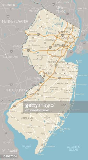 new jersey map - new jersey stock illustrations