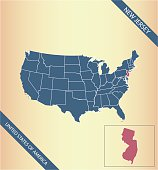 New Jersey map vector outline illustration highlighted in USA map