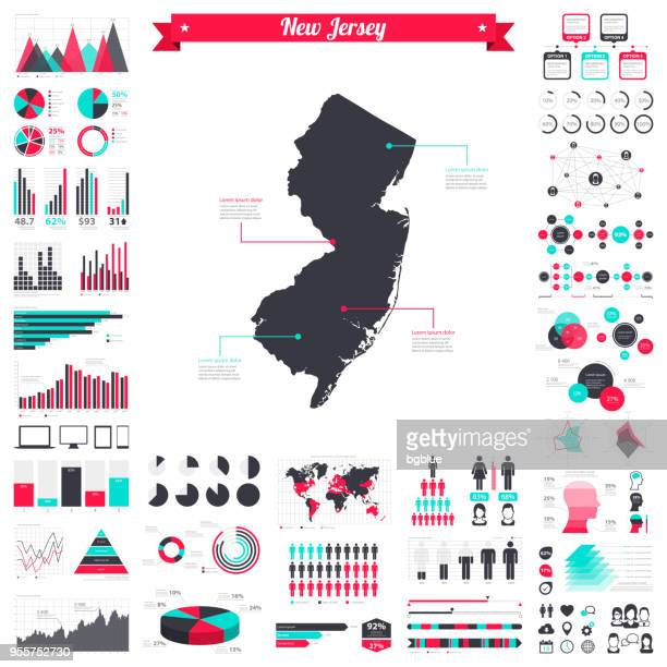 New Jersey map with infographic elements - Big creative graphic set
