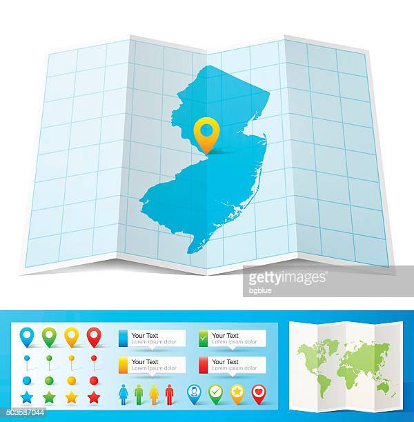 New Jersey Map with location pins isolated on white Background