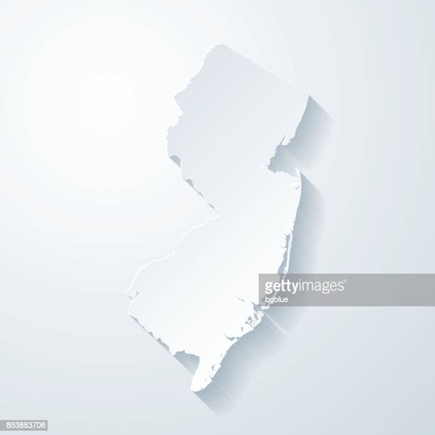 New Jersey map with paper cut effect on blank background