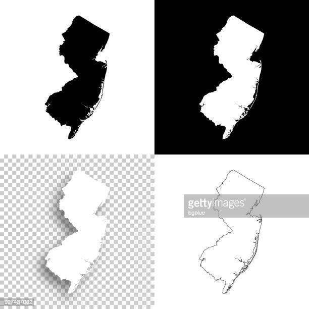 new jersey maps for design - blank, white and black backgrounds - new jersey stock illustrations