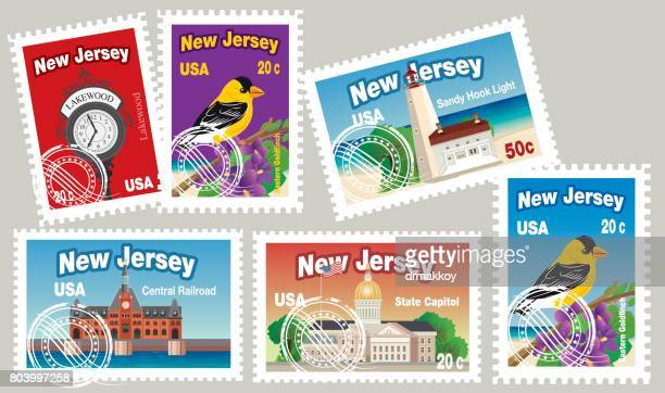 new jersey postage - post office stock illustrations, clip art, cartoons, & icons