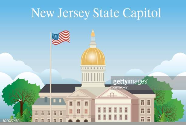 new jersey state capitol - architectural dome stock illustrations, clip art, cartoons, & icons