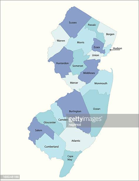 new jersey state - county map - sports jersey stock illustrations