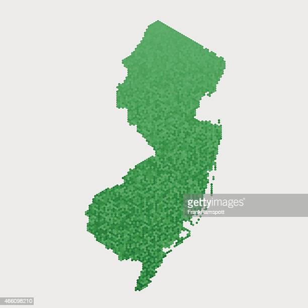 New Jersey State Map Green Hexagon Pattern