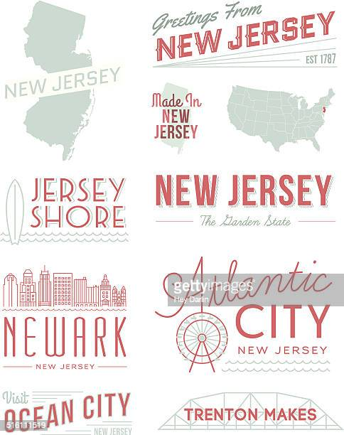 new jersey typography - ferris wheel stock illustrations, clip art, cartoons, & icons