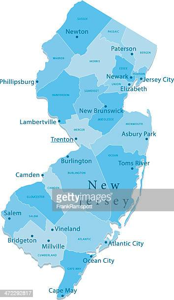 New Jersey Vector Map Regions Isolated