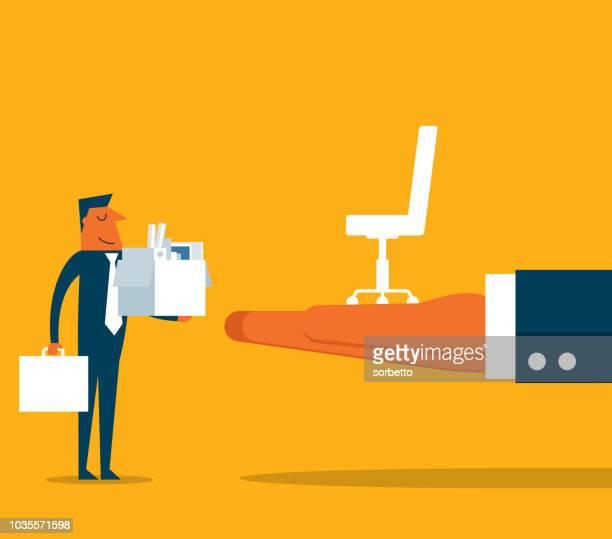 new job - businessman - ladder of success stock illustrations
