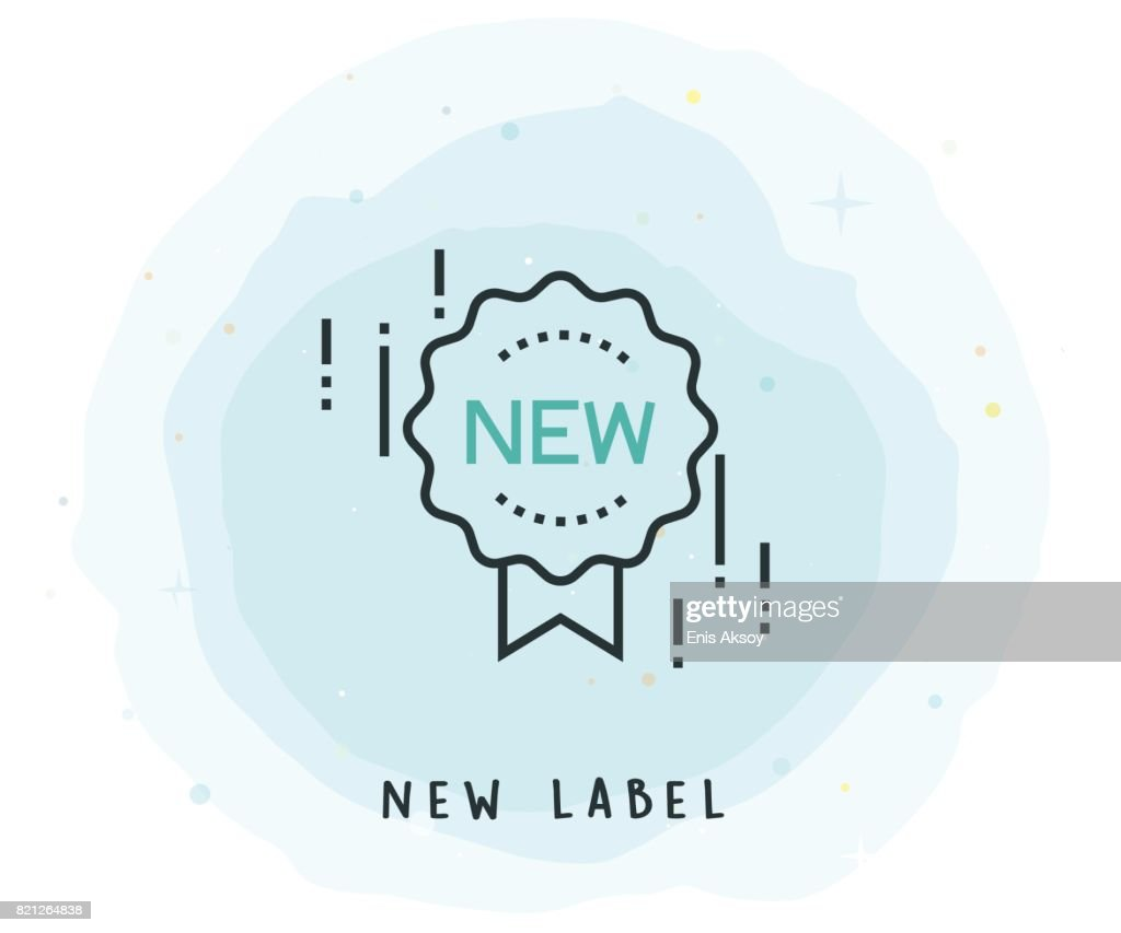 New Label Icon with Watercolor Patch : stock illustration