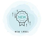 New Label Icon with Watercolor Patch
