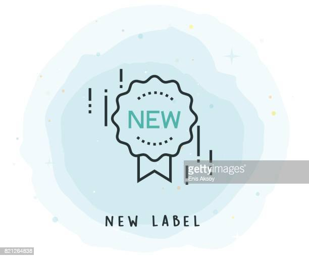 new label icon with watercolor patch - new stock illustrations