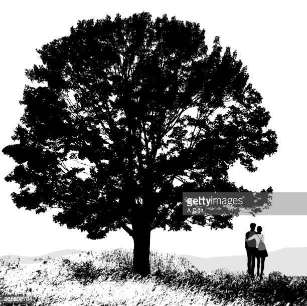new love oak tree - girlfriend stock illustrations, clip art, cartoons, & icons