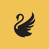 new luxury stylish spreading wings swan logo design vector logotype sign illustration