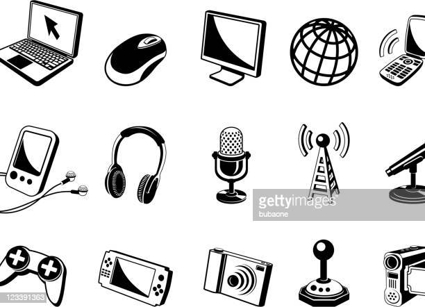 new media 3d black and white vector icon set - antenna aerial stock illustrations, clip art, cartoons, & icons