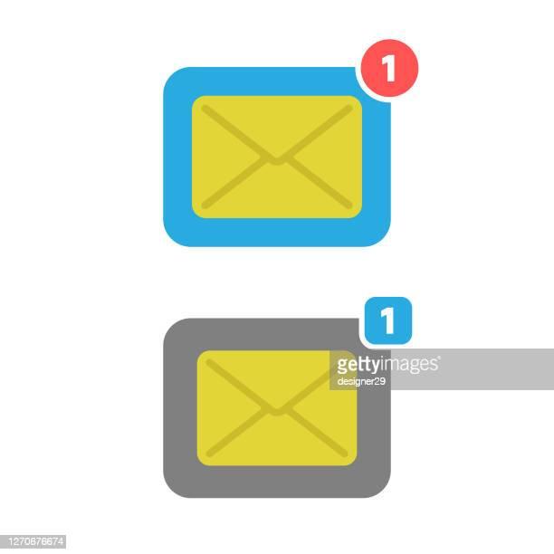 白い背景に新しいメッセージまたは通知アイコンフラットデザイン。 - 通知アイコン点のイラスト素材/クリップアート素材/マンガ素材/アイコン素材