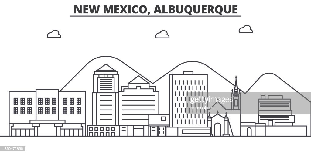 New Mexico Albuquerque architecture line skyline illustration. Linear vector cityscape with famous landmarks, city sights, design icons. Landscape wtih editable strokes