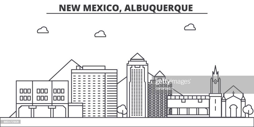New Mexico, Albuquerque architecture line skyline illustration. Linear vector cityscape with famous landmarks, city sights, design icons. Landscape wtih editable strokes