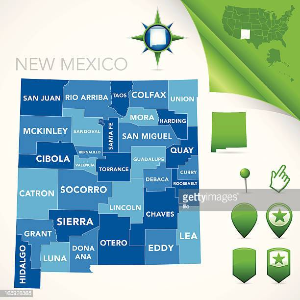new mexico county map - new mexico stock illustrations