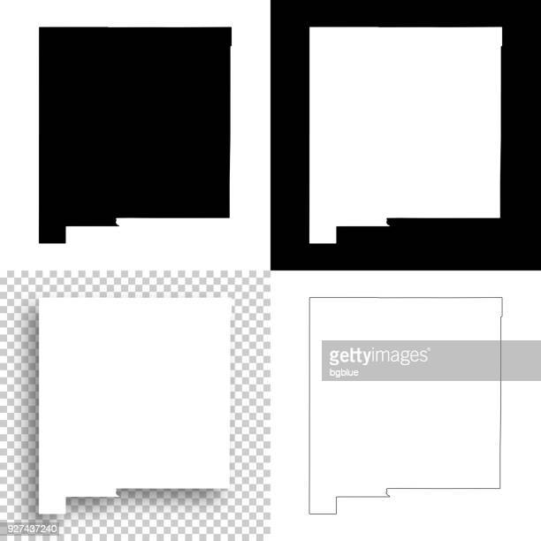 new mexico maps for design - blank, white and black backgrounds - new mexico stock illustrations
