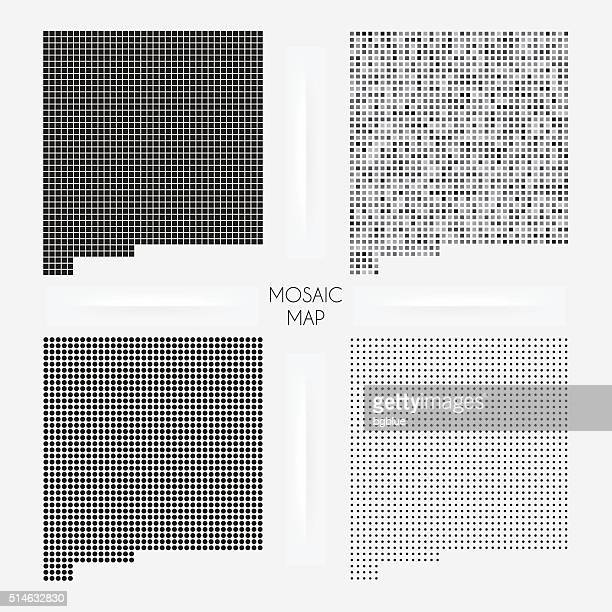 new mexico maps - mosaic squarred and dotted - new mexico stock illustrations