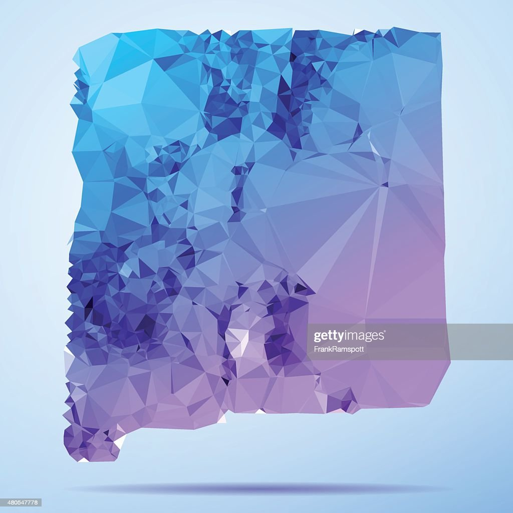 New Mexico Polygon Triangle Map Blue : Vector Art