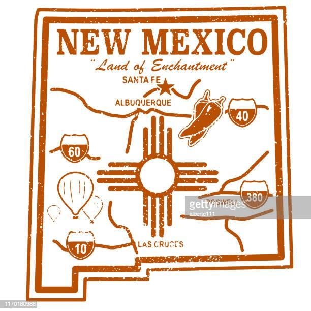 ニューメキシコレトロトラベルスタンプ - ニューメキシコ州点のイラスト素材/クリップアート素材/マンガ素材/アイコン素材