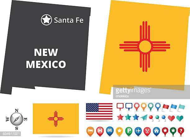 new mexico state map kit - new mexico stock illustrations