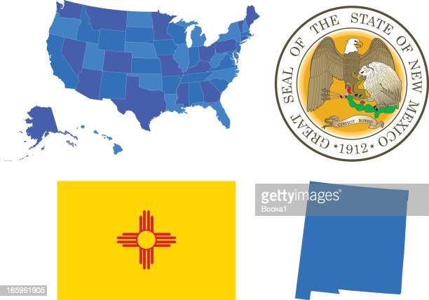 new mexico state set - new mexico stock illustrations