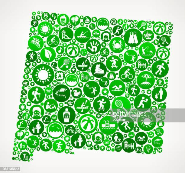new mexico summer camp fun icon pattern - new mexico stock illustrations