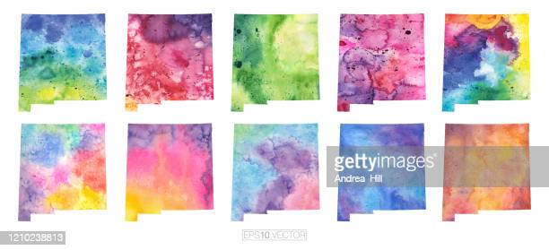 new mexico watercolor vector map illustration set - new mexico stock illustrations