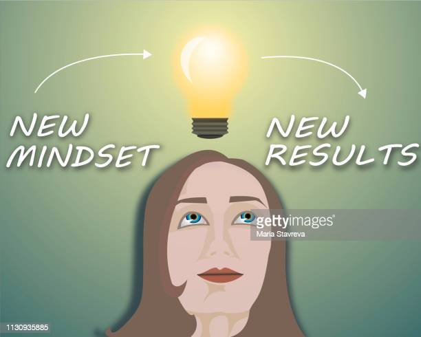 new mindset new results.vector - attitude stock illustrations, clip art, cartoons, & icons