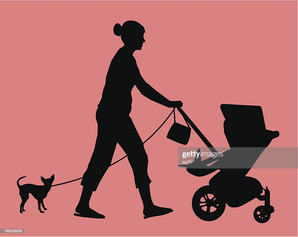 New mom out on a stroll. ( Vector )