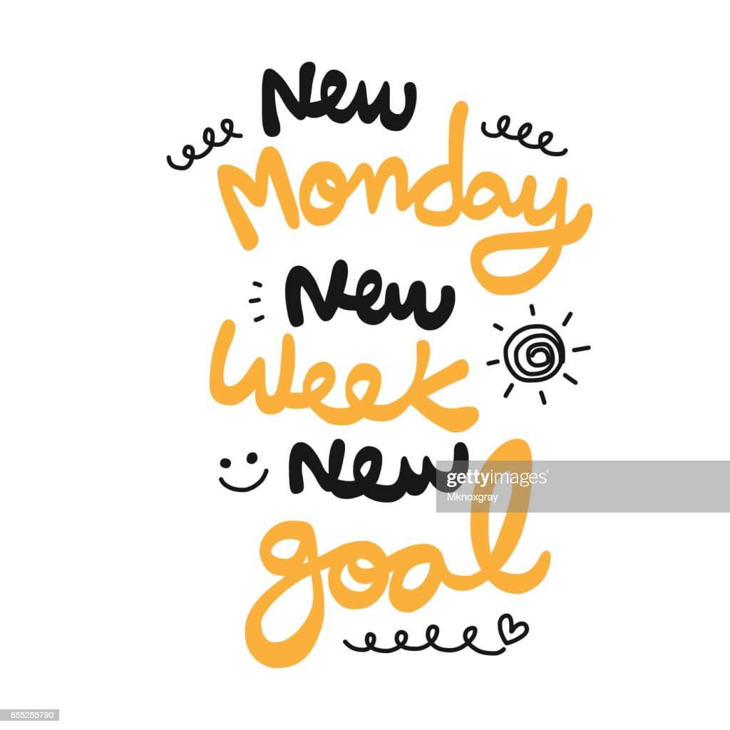 New monday new week new goal word doodle style