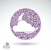 New Moon behind cloud beautiful vector art illustration, floral