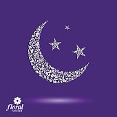 New Moon placed on starry sky beautiful art vector illustration