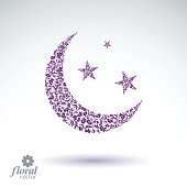 New Moon placed on starry sky beautiful vector art illustration