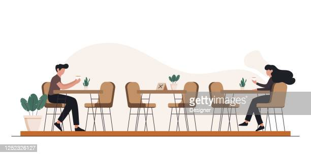 new normal concept restaurant, food and drink related vector illustration - arranging stock illustrations