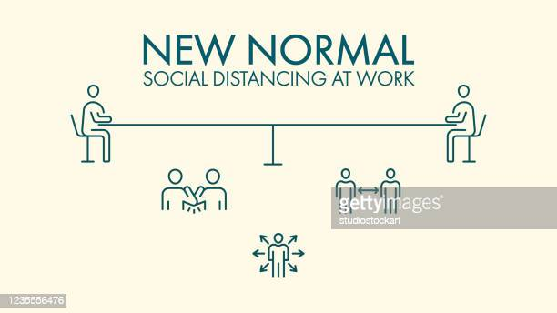 new normal social distancing line icons - illness prevention stock illustrations