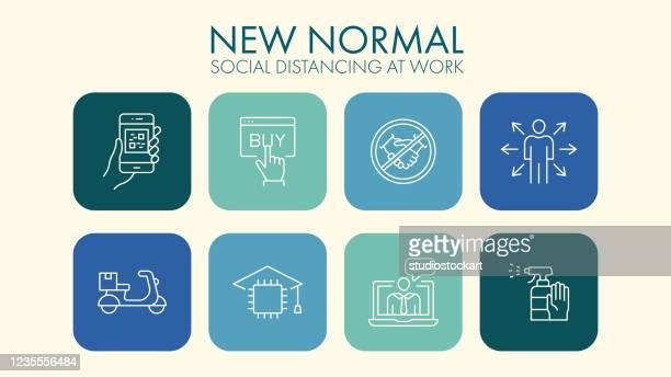 新しい正常なソーシャルディタンスラインアイコン - コンセプト ニューノーマル点のイラスト素材/クリップアート素材/マンガ素材/アイコン素材