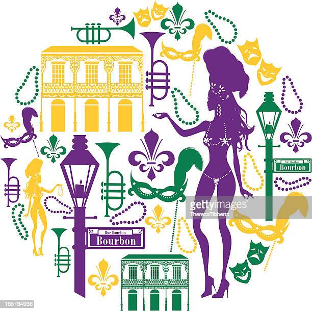 new orleans icon montage - new orleans stock illustrations, clip art, cartoons, & icons