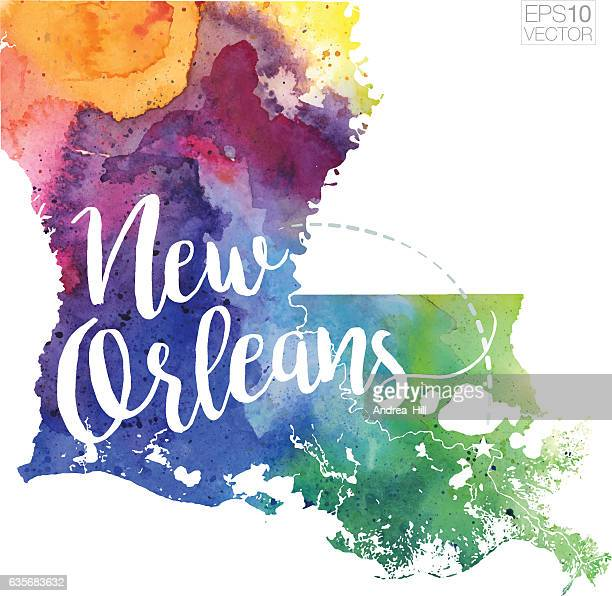 new orleans, louisiana vector watercolor map - new orleans stock illustrations, clip art, cartoons, & icons