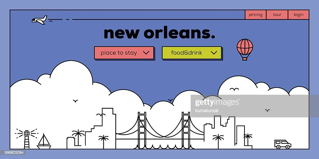 New Orleans Modern Web Banner Design with Vector Linear Skyline
