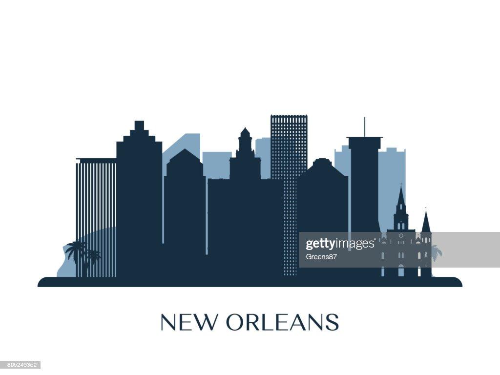 New Orleans skyline, monochrome silhouette. Vector illustration.